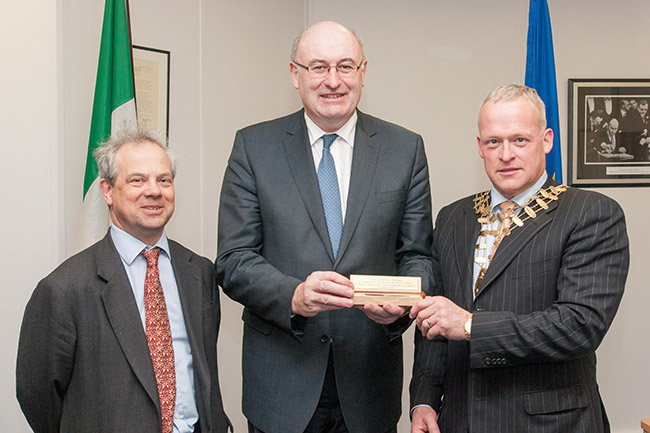 Jeremy Moody, EU Agriculture Commissioner Phil Hogan and Keith Anderson of the Irish Institute of Professional Auctioneers and Valuers.